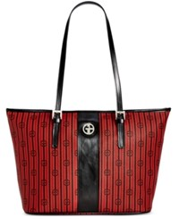 Giani Bernini Stripe Signature Tulip Tote Only At Macy's Red Black