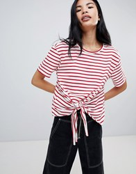 Pull And Bear Pullandbear Tie Front T Shirt In Red Stripe Red Stripe