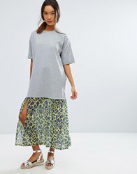Asos Midi T Shirt Dress With Leopard Print Woven Hem Grey Marl