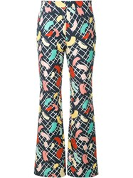 Rossella Jardini Brush Stroke Print Trousers Blue