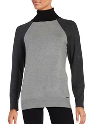 Calvin Klein Colorblocked Turtleneck Heather Grey
