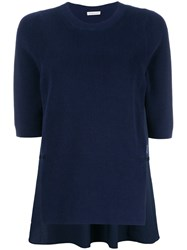 Moncler Ribbed Knit Short Sleeve Top Blue