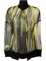 Ann Demeulemeester High Collar 'Radiant' Blouse Yellow And Orange