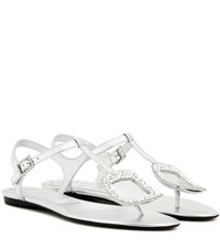Roger Vivier Thong Chips Embellished Metallic Leather Sandals Silver
