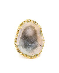 Kimberly Mcdonald 18K Yellow Gold Diamond And Geode Ring Yellow Green Black
