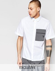 Black Eye Rags Short Sleeve Shirt With Contrast Pocket And Drawstring Hem White