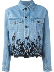 Filles A Papa Tribal Embroidery Denim Jacket Blue