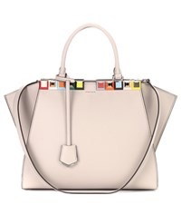 Fendi 3Jours Embellished Leather Tote Grey