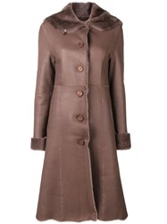 Liska Fur Trim Trench Coat Brown