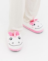Brave Soul Unicorn Slippers Pink And White