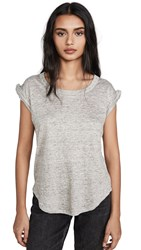 Chaser Twisted Sleeve Scoop Neck Tee Heather Grey