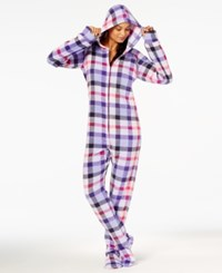 By Jennifer Moore Hooded Footed Printed Pajama Jumpsuit Created For Macy's Purple Plaid