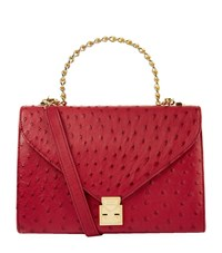 Lana Marks Frozen Chain Top Handle Ostrich Bag Female Red