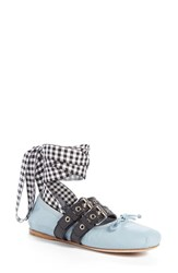 Miu Miu Women's Lace Up Ballerina Flat Light Blue Black Leather