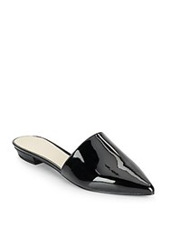 Nine West Trey Patent Leather Point Toe Mule Slides Black