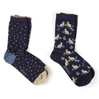 Fat Face Cat And Spot Print Ankle Socks Pack Of 2 Navy Multi