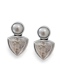 Stephen Dweck Etched Clip On Earrings White