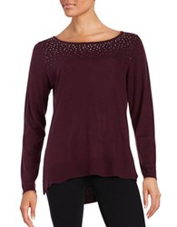 Nydj Rhinestone Embellished Cashmere Blend Sweater Purple