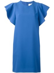 Victoria Beckham Flounce Sleeve Dress Blue