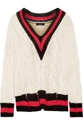 Rag And Bone Emma Oversized Striped Cable Knit Cotton Blend Sweater Cream