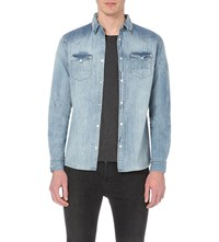 Allsaints Burke Slim Fit Denim Shirt Light Indigo B