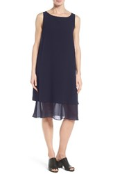 Eileen Fisher Women's Silk Georgette Shift Dress Midnight
