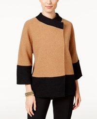 Jm Collection Petite Colorblocked Wool Jacket Only At Macy's Willow Brown