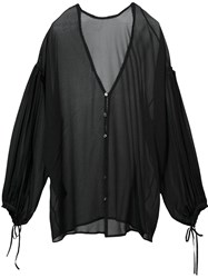 Isabel Benenato V Neck Blouse Black
