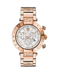 Versace Reve Chronograph Rose Gold Pvd Watch With White Sunray Dial 46Mm Pink