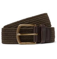Polo Ralph Lauren 3.5Cm Army Green Leather Trimmed Woven Belt Brown