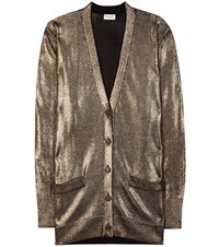 Saint Laurent Metallic Cardigan Gold