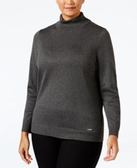Calvin Klein Plus Size Turtleneck Sweater Heather Charcoal