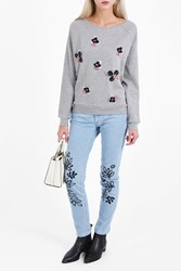Paul Joe Women S Colleen Embroidered Flower Jumper Boutique1 Grey