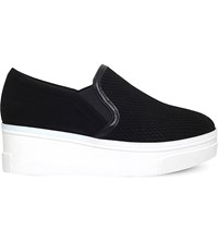 Kg By Kurt Geiger Lizard Leather Flatform Trainers Black