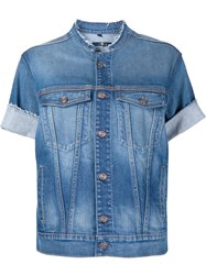 7 For All Mankind Short Sleeve Denim Jacket Blue