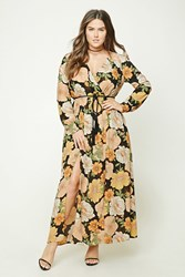 Forever 21 Plus Size Floral Maxi Dress Peach Black