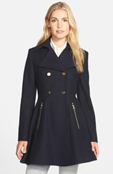 Women's Laundry By Shelli Segal Double Breasted Fit And Flare Coat Navy