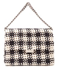 Stella Mccartney Becks Woven Faux Leather Shoulder Bag Black White