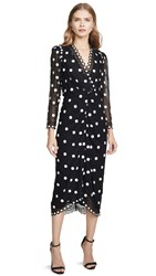 Rebecca Taylor Dot Embroidered Dress Black Combo