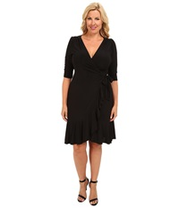 Kiyonna Whimsy Wrap Dress Black Noir Women's Dress
