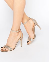 Call It Spring Waylanda Gold Two Part Heeled Sandals Pink