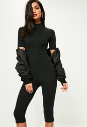 Missguided Black Short Sleeve Cropped Unitard Jumpsuit