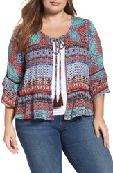Democracy Plus Size Women's Flounce Cuff Print Bed Jacket