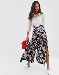 Qed London Palazzo Wide Leg Trousers In Navy Floral Print Multi