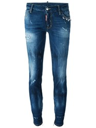 Dsquared2 Medium Waist 'Skinny' Jeans Blue