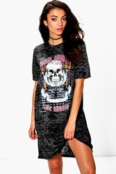 Boohoo Ruben Burnout Band Oversized T Shirt Dress Black