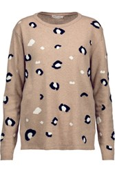 Chinti And Parker Leopard Intarsia Knit Merino Wool Cashmere Blend Sweater Beige