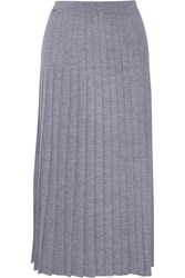 Vionnet Pleated Wool Midi Skirt Gray