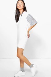 Boohoo Oversized Sequin Sleeve T Shirt Dress White