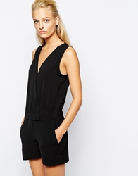 Mango Tailored Wrap Playsuit Black